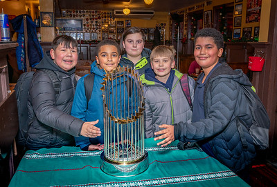 Eliot School 6th Graders with the 2018 Red Sox World Series Trophy