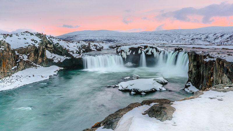 The famous Goðafoss Waterfall in northern Iceland