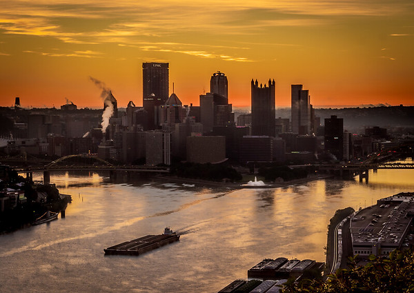 Barge on Ohio River as Pittsburgh wakes up