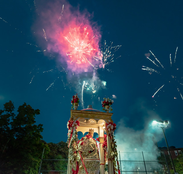 Fireworks over the staute of Saint Agrippina at the Gassy Playground