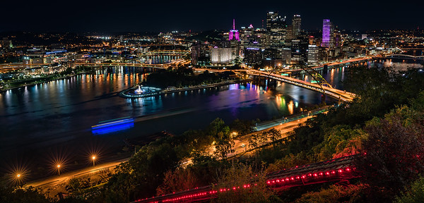 Pittsburgh skyline and three rivers from the Duquesne Incline, a working funicular on Mt Washington