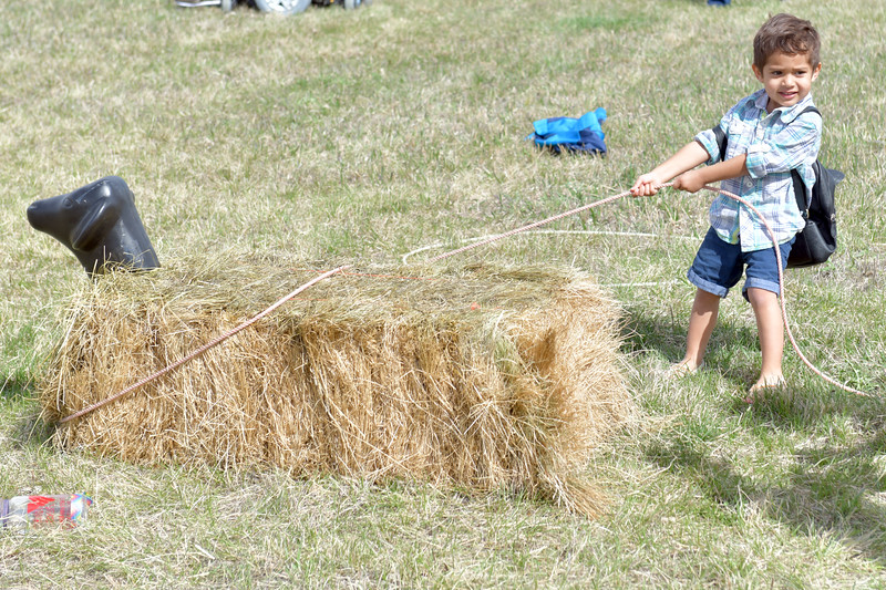 Matthew Gaston | The Sheridan Press<br>Alapa'i Lacaden, 3, practices his roping skills at the 2019 BWC Community Easter Carnival &amp; Egg Hunt Saturday, April 20, 2019.