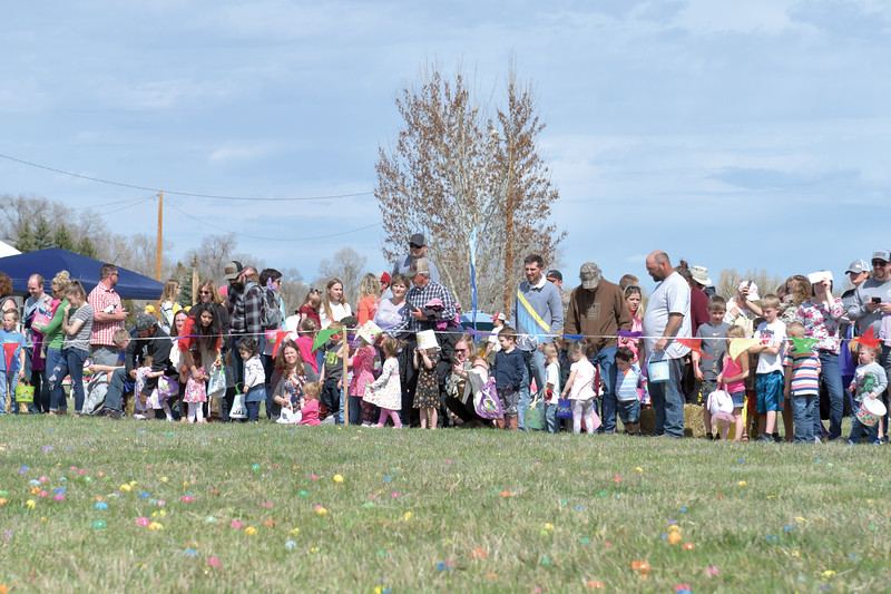 Matthew Gaston | The Sheridan Press<br>Kids and their parents line up in anticipation of the Easter egg hunt at the Bethesda Worship Center during the 2019 BWC Community Easter Carnival &amp; Egg Hunt Saturday, April 20, 2019.