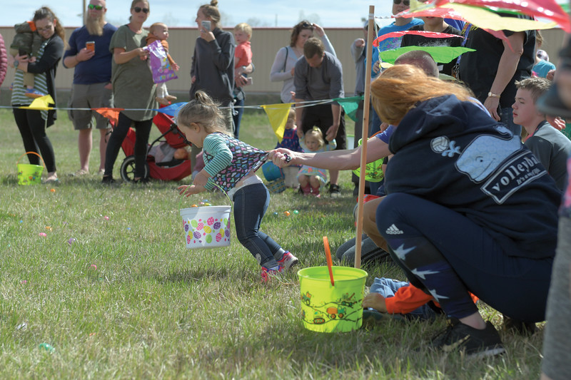 Matthew Gaston | The Sheridan Press<br>Violet Taylor, 2, can not wait to start the Easter egg hunt during the 2019 BWC Community Easter Carnival &amp; Egg Hunt at the Bethesda Worship Center Saturday, April 20, 2019.
