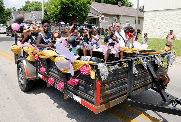 Don Knight | The Herald Bulletin<br /> Soulfest's float included members of the Pageant Squad during the Anderson Black Expo parade on Saturday.