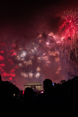 USA Spelled in Fireworks Above Lincoln Memorial