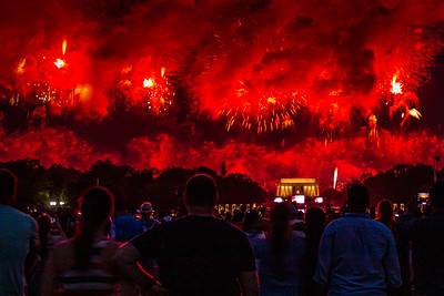 Red Fireworks Above Lincoln Memorial