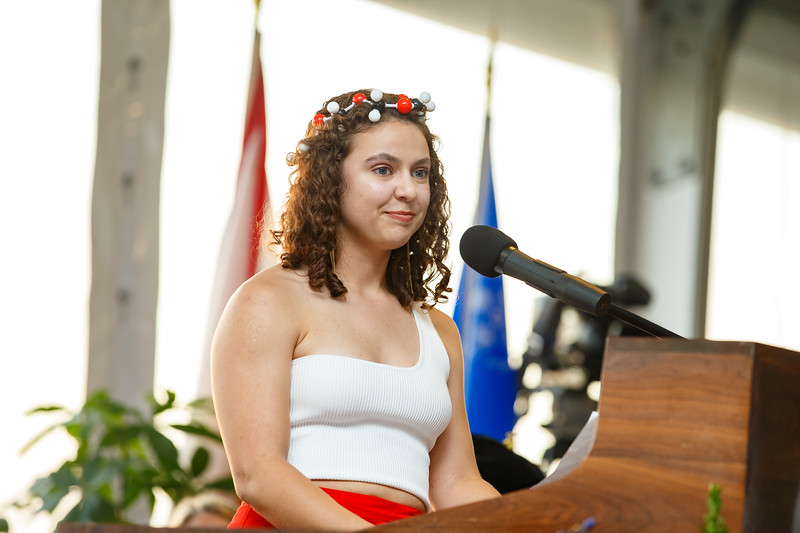 Eleni Spanolios delivered the student commencement speech May 17.