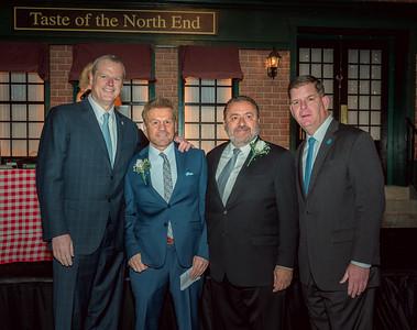 (L-R) Gov. Charlie Baker, NEW Health CEO James Luisi, Il Molo's Donato Frattaroli and Mayor Marty Walsh