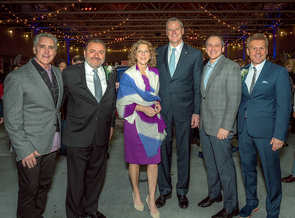 (L-R) Master of Ceremonies Billy Costa (NESN's Dinng Playbook), TONE Co-host Donato Frattaroli (Il Molo), Mass. First Lady Lauren Baker, Mass. Governor Charlie Baker, State Rep. Aaron Michlewitz and TONE Co-host James Luisi (NEW Health)