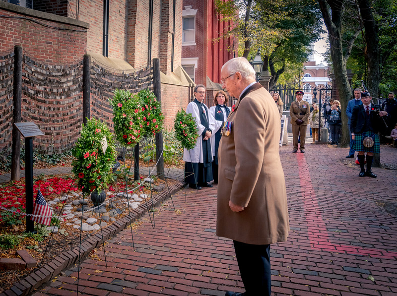 Keith Taylor, British Soldier's Fund, lays a wreath at the Old North Memorial Garden