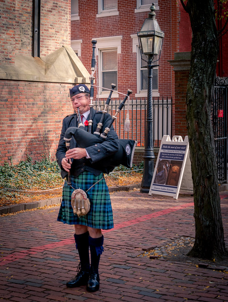 Bag Pipe player at the annual Remembrance Ceremony at Old North
