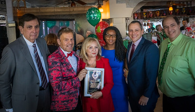 Honoree Sandra Pascucci with (L-R) Ted Tomasone, NEW Health CEO Jim Luisi, Councilor Edwards, Rep. Michlewitz and John Romano
