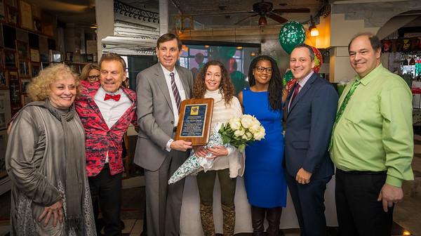 Fred Carangelo Humanitarian Award honoree Toni Gilardi with (L-R) Janet Gilardi, NEW Health CEO Jim Luisi, Ted Tomasone, Councilor Edwards, Rep. Michlewitz and John Romano