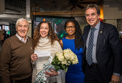 NEAA donation to Toys for Tots with honoree Toni Gilardi, Councilor Lydia Edwards and BPD Superintendent Chuck Wilson