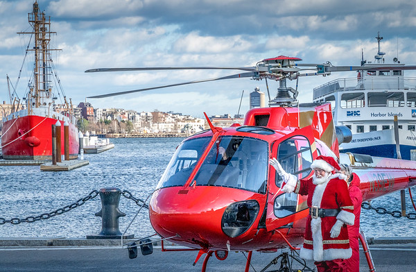 Santa arrives by helicopter on Boston's waterfront