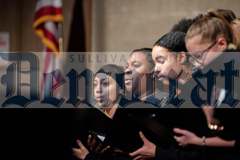 Members of the Senior High Treble Chorus sing A Choral Flourish, the first of their four songs.