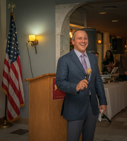 State Rep. Aaron Michlewitz speaks to the crowd at Filippo's Ristorante