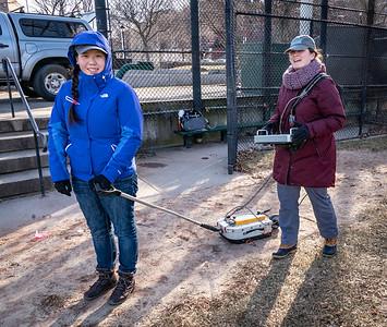 UMass Boston researchers use equipment to detect the molasses tank foundation underground
