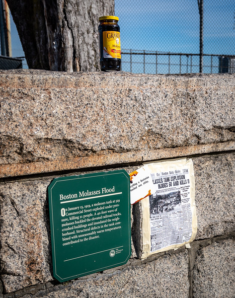 Postings and molasses at the site of the Great Molasses Flood on the 100th Anniversary