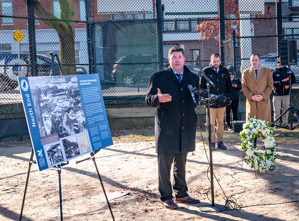 Chris Cook, Boston Parks Commissioner, led a commemoration at Langone Park of the Great Molasses Flood on its 100th Anniversary