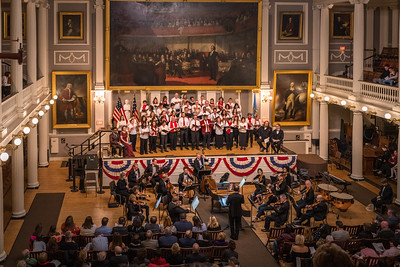 NEMPAC, Boston Landmarks Orchestra and One City Choir conducted by Christopher Wilkins performed in The Great Hall, Faneuil Hall.