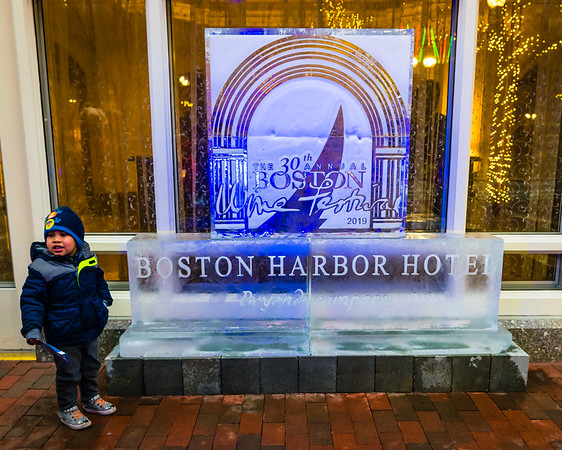 Posing with the ice sculpture at the Boston Harbor Hotel