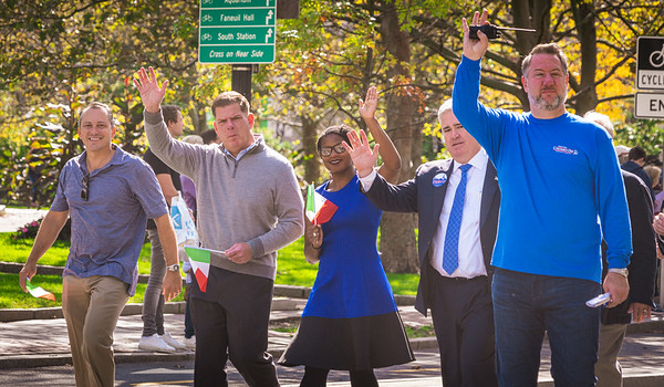 Parade Marshall, Boston Mayor Marty Walsh along with State Rep. Aaron Michlewitz, District 1 City Councilor Lydia Edwards, Councilor-at-large Michael Flaherty and Parade Coordinator Jason Aluia