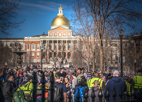 Swarms of Pats fans in front of the State House