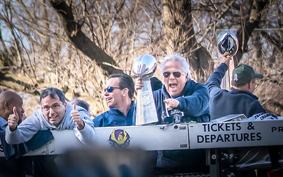 Pats owners, Kraft Family, with the trophy at the rolling rally