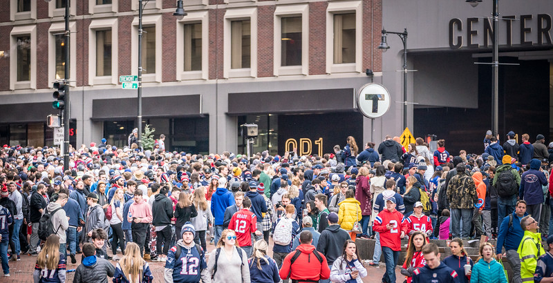 Crowds gather along the parade route