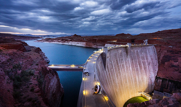 Glen Canyon Dam at Lake Powell in Page, Arizona