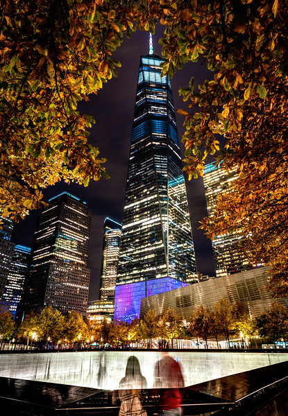 Fall colors at the 9/11 Memorial and Freedom Tower
