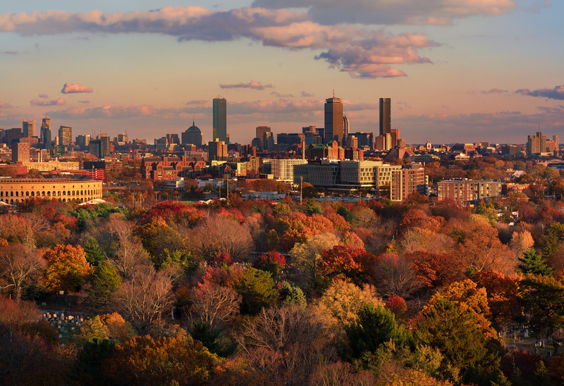 Boston as seen from the tower at Mt. Auburn Cemetery