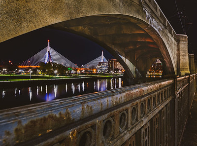 Zakim Bunker Hill Bridge Seen Under the Lechmere Viaduct