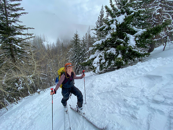 Melissa coming up some steep tracks