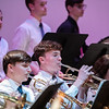 Zach Stephenson joins the high school band on his trumpet.