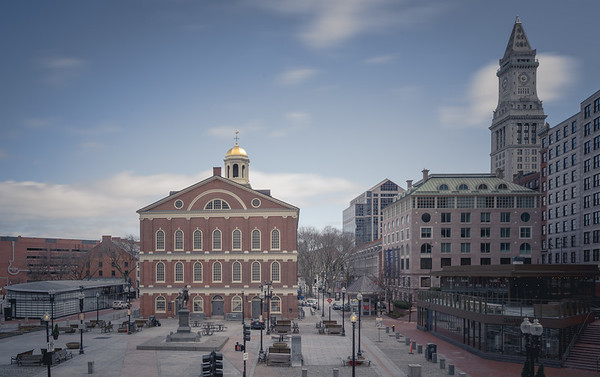 Empty Faneuil Hall during COVID-19 pandemic