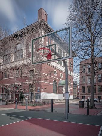 Zip tied basketball net at Polcari Playground and Nazzaro Center
