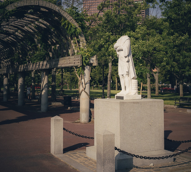 A repeated target, the Columbus statue is beheaded and ultimately removed by city officials.