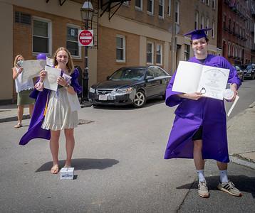 Boston Latin School graduates Victoria Peterlin and Nolan Ward