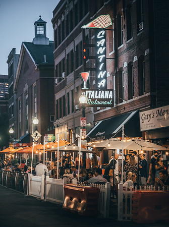 Friday night revelers in the North End