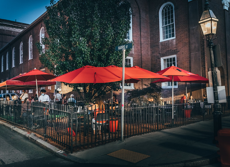 North End church courtyards have been transformed into outdoor dining areas