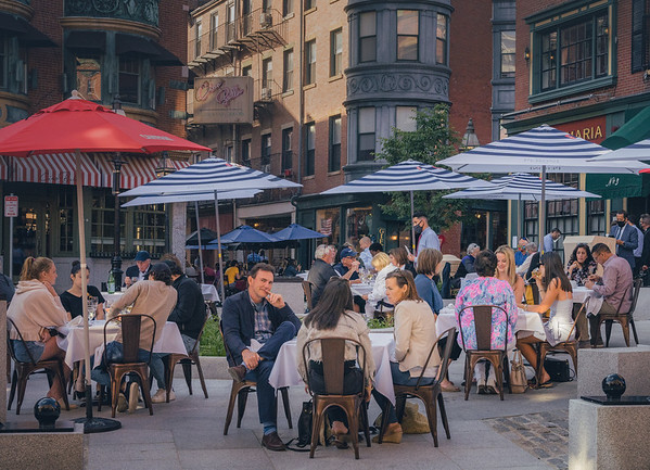 North Square - the country's oldest public square and formerly vacant is now an outdoor cafe with colorful umbrellas