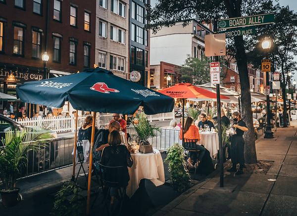 Curbside dining on Hanover Street