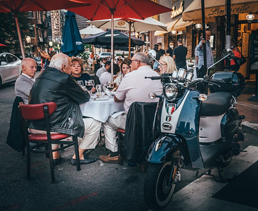 Italian Vespa  transportation to the new street dining in Boston's North End
