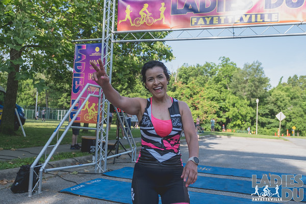 The Ladies DU had athletes running 2 miles, biking twice around Lake Fayetville, and then running another 2 miles to meet back at Veterans Memorial Park in Fayetteville, AR.