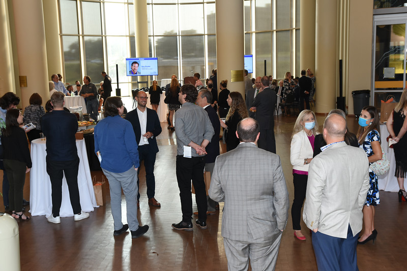 Guests and honorees mingle during the Journal Record 2021 Excellence in Construction and Real Estate reception, held at the Oklahoma History Center, 9-9-2021.  Photo by Mark Hancock