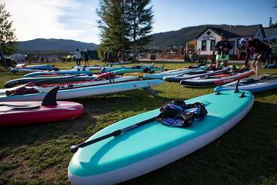 The 7th Annual Frisco Triathlon in Frisco Colorado. The triathlon features stand-up paddle boarding, mountain biking and trail running.