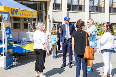 A group of UAF alumni gathers near the Constitution Building during the first da of the 2021 reunion.